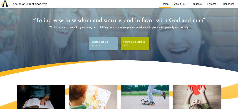 Website page of Adelphian Junior Academy